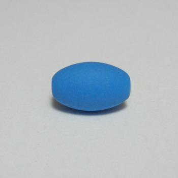 Margele plastic cauciucate albastre, 13x9mm 1 buc