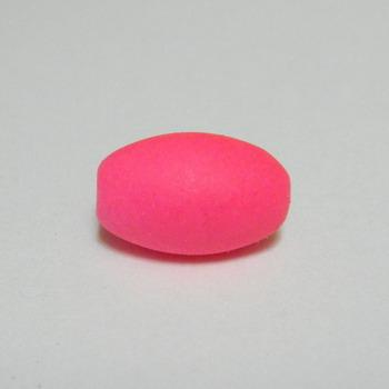 Margele plastic cauciucate roz-fosforescent, 13x9mm 1 buc