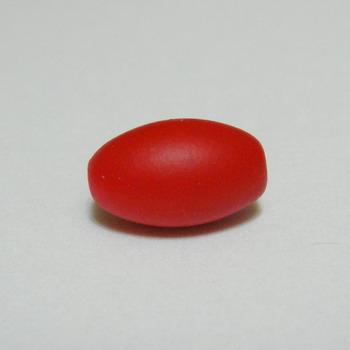Margele plastic cauciucate rosii, 13x9mm 1 buc
