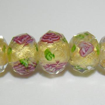 Margele sticla, lampwork. galbene cu floricele roz,12x9mm 1 buc
