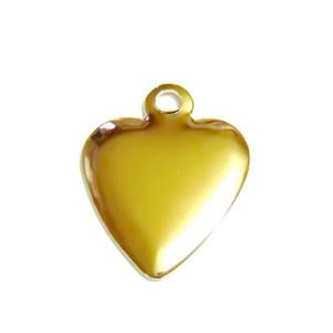Ornament inima 14mm, placat cu aur 1 buc
