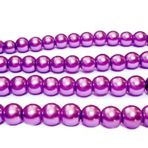 Perle sticla mov 6mm 10 buc