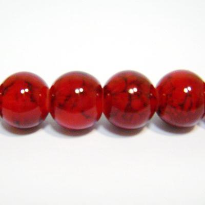 Margele sticla rotunde rosii-visinii 12 mm 1 buc