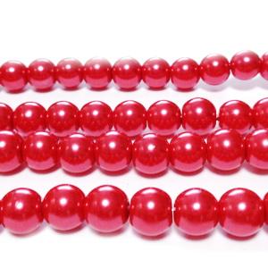 Perle sticla rosu deschis, 8mm 10 buc