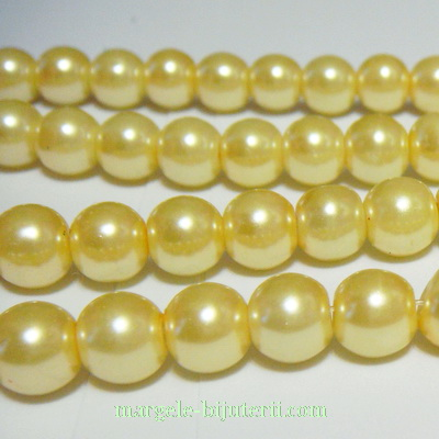 Perle sticla galben-pai, 8mm 10 buc