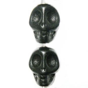 Cranii turcoaz vopsit negru, 12x12x9mm 1 buc