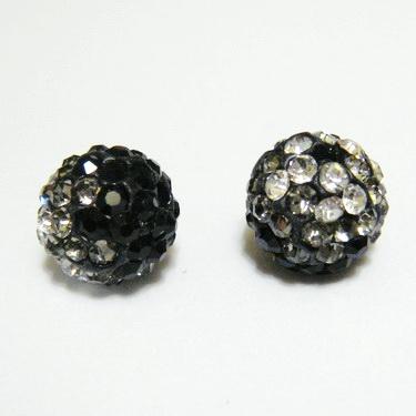 Margele shamballa degrade-negru-alb, 10mm 1 buc