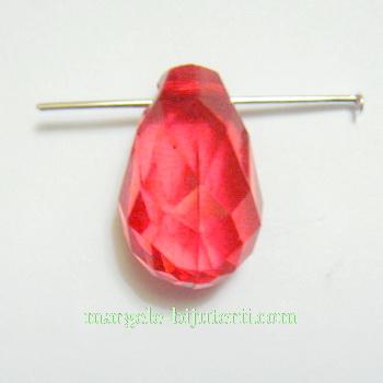 Briolete plastic rosii, 18x10mm 1 buc
