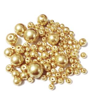 Mix perle sticla aurii-deschis, 4-12mm 25 g