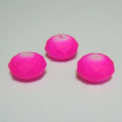 Margele plastic, cauciucate, fucsia, rondel 5,5x8,5mm 1 buc