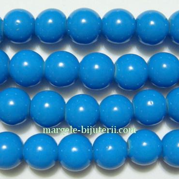 Margele sticla sferice, albastru-turcoaz, 8mm 10 buc