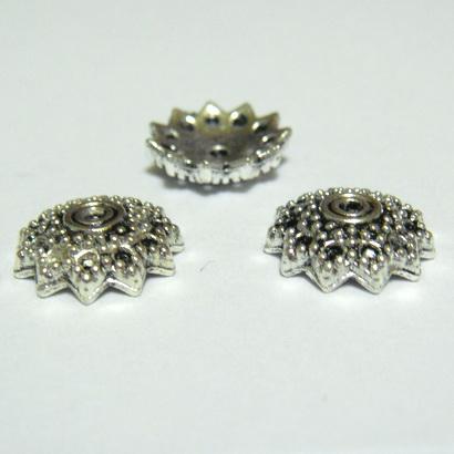 Capacel argint tibetan cu 12 petale, 10x3mm 1 buc