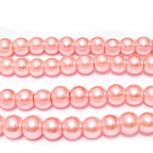Perle sticla roz deschis, 6mm 10 buc
