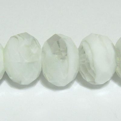 Margele sticla, lampwork, albe cu transparent, 12x9mm 1 buc