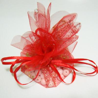 Saculet organza rosu cu imprimeu auriu-argintiu, diametrul 27 cm 1 buc