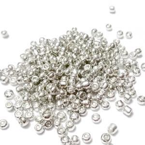 Margele nisip, argintii, metalizate, 3mm 20 g