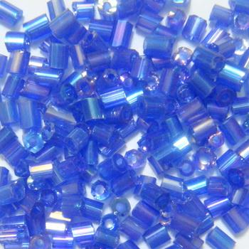 Margele tubulare transparente, albastre, AB, 3mm 20 g