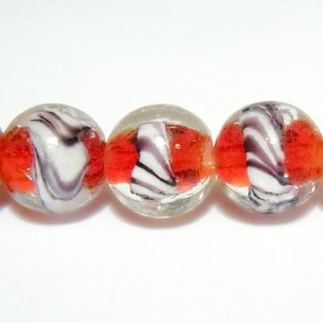 Margele sticla, lampwork, rosii cu alb, sferice, 12mm 1 buc