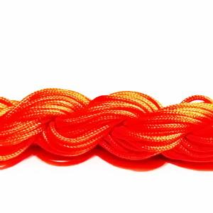 Snur matasos pentru bratari shamballa, portocaliu-fosforescent, grosime 1mm-scul cca 26m 1 buc