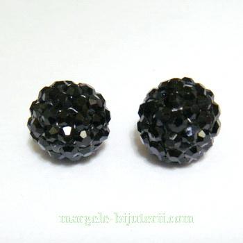 Margele shamballa negre, 10mm,  semigaurite 1 buc