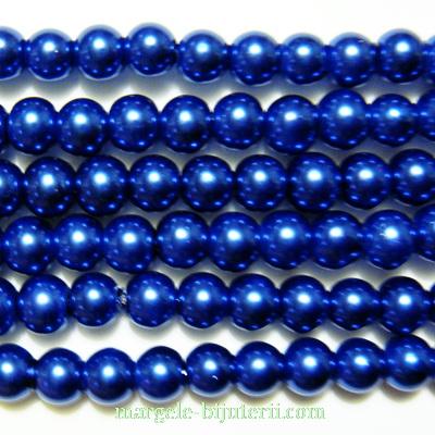Perle sticla, albastru-cobalt, 6mm 10 buc