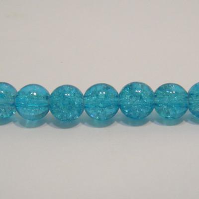 Margele sticla crackle albastre 8 mm 10 buc