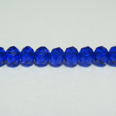Margele sticla, multifete, albastre, 3.5x2.7mm 10 buc