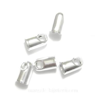 Capat snur, argintiu, cilindric, 6x3mm 10 buc