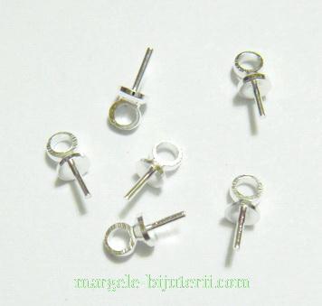 Accesorii prindere pandantiv, argintii, cu surub, 7mm 1 buc