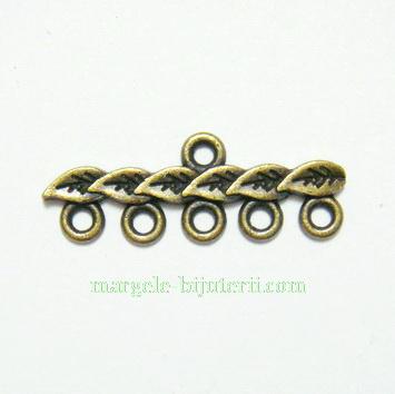 Accesoriu multisir cu 5 bucle, bronz, 28x7mm 1 buc