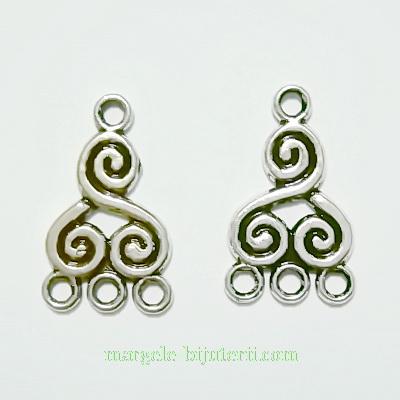 Cadru cercei/pandantiv, argint tibetan, cu spirale, 4 bucle, 20x12x2mm 1 buc