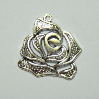 Pandantiv argint tibetan, trandafir 26x26mm 1 buc