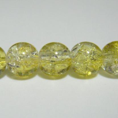 Margele sticla crackle, galben-alb, 8.6 mm 10 buc