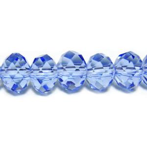 Margele sticla multifete, albastru deschis, 8x6mm 1 buc