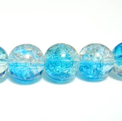 Margele sticla crackle, albastru-alb, 8.6 mm 10 buc