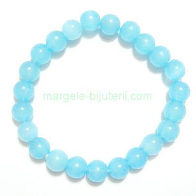 Bratara margele sticla bleu, 8mm 1 buc