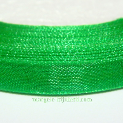 Panglica organza verde, 8mm 1 rola 22 m