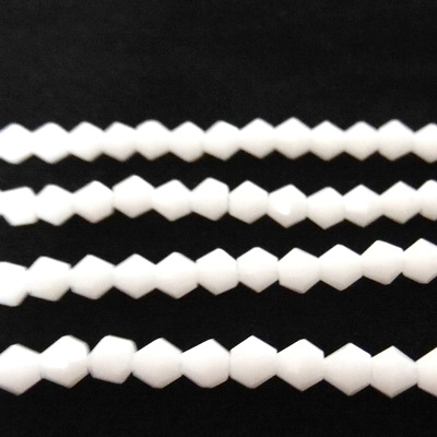 Margele sticla biconice albe 4mm 10 buc