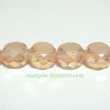 Margele sticla multifete plate, roz AB, 6x3.5mm 1 buc