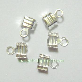 Capat prindere snur, argintiu, 7.3x4.5mm 10 buc