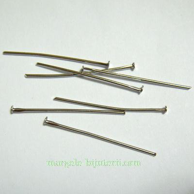 Ace cu cap placate cu rodiu, 30 mm, grosile 0.8mm 50 buc