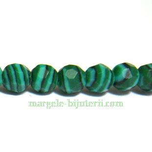 Malachit de sinteza, verde, multifete, 4mm 1 buc