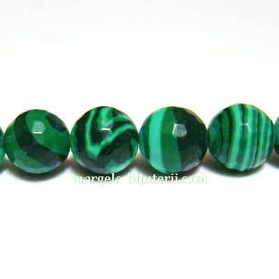 Malachit de sinteza, verde, multifete, 6mm 1 buc