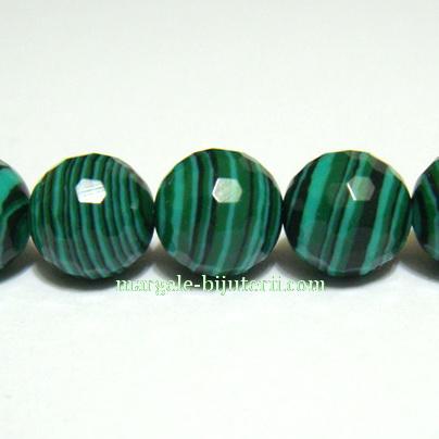 Malachit de sinteza, verde, multifete, 8mm 1 buc