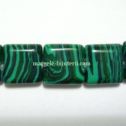 Malachit de sinteza, verde, patrat, 9x9mm 1 buc