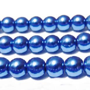 Perle sticla albastre, 10mm 10 buc