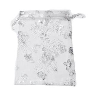 Saculet organza alb cu argintiu, 18x12cm, interior 15x12cm 1 buc