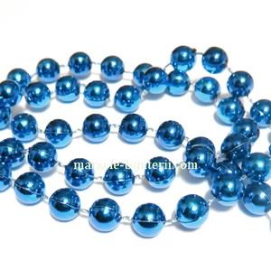 Margele plastic albastre, 8mm, insiruite pe ata - 5 metri 1 sirag