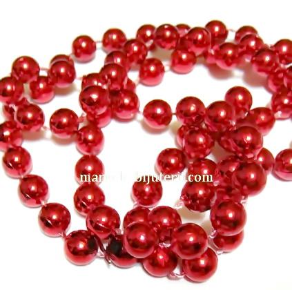 Margele plastic rosii, 8mm, insiruite pe ata - 5 metri 1 sirag