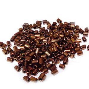 Margele tubulare, maro-roscat, metalizat, 3mm 20 g